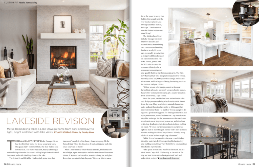 "Oregon Home Magazine ""Lakeside Revision"" feature"